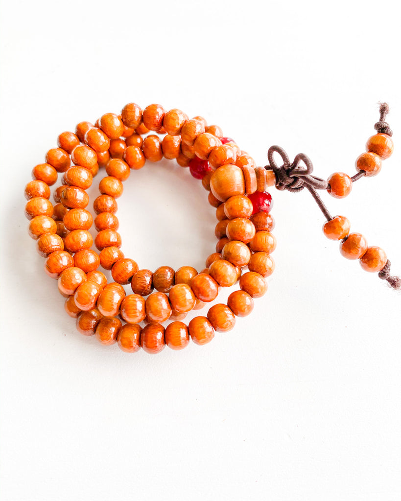 Buddha beaded wrap-orange