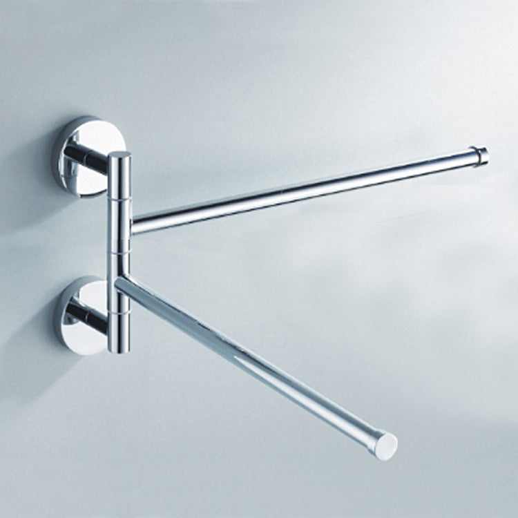2 Arm Stainless Towel Rack Bathroom Swivel Bars Hanger Chrome