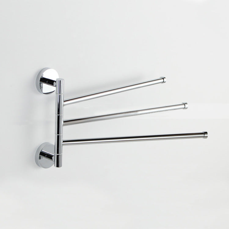 3 Arm Stainless Towel Rack Bathroom Swivel Bars Hanger Chrome