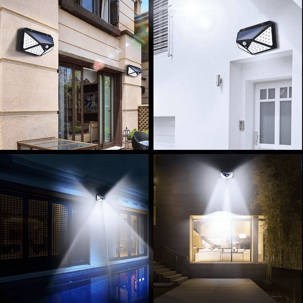 Solar LED 270° Four-Angle Motion Sensor Waterproof Outdoor Wall Light