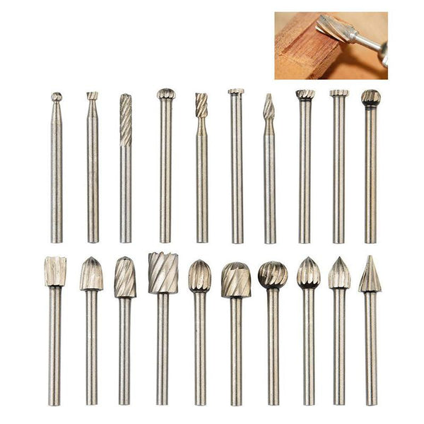 20pcs Rotary Bit Burrs Set with 1/8''(3mm) Shank