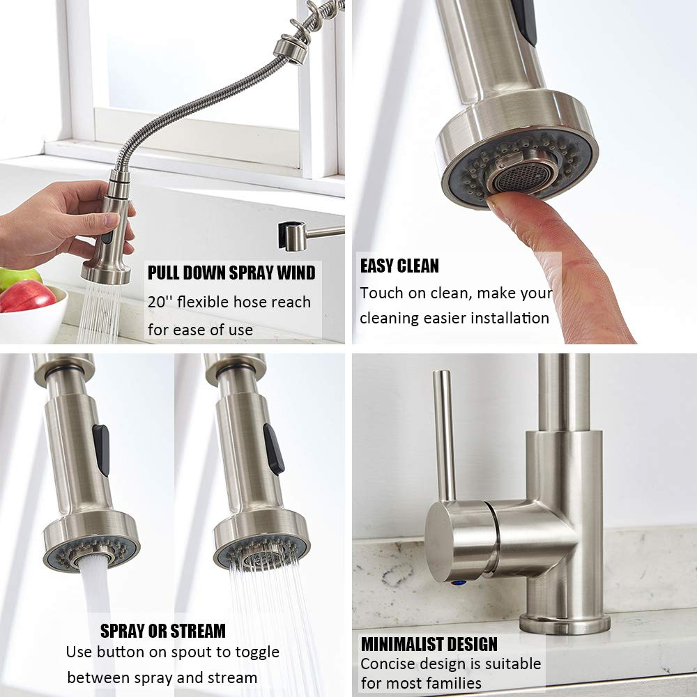 Brass Single Handle Pull Down Sprayer Spring Faucet