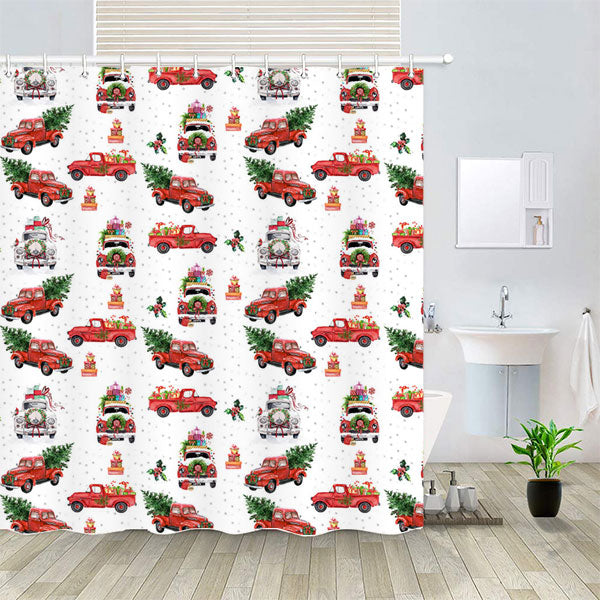 CHRISTMAS TRUCKS SHOWER CURTAIN