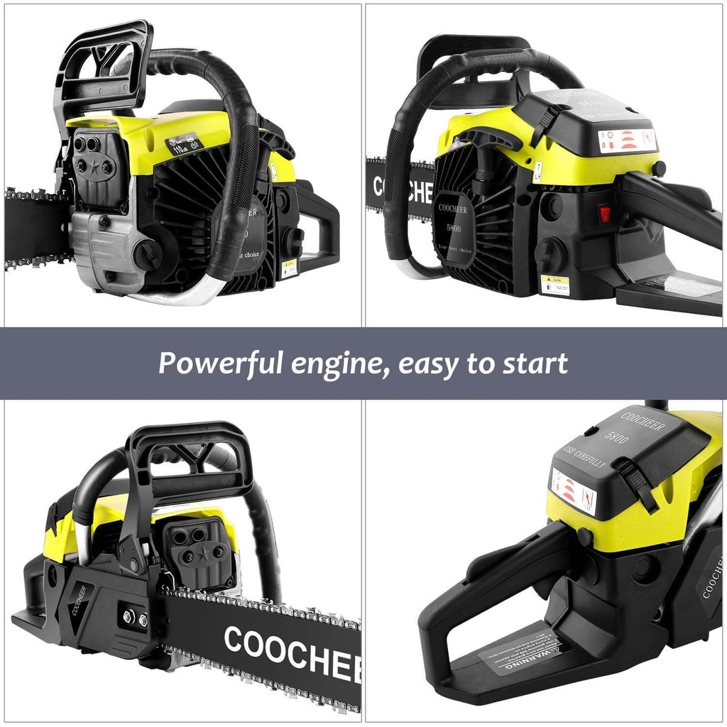 COOCHEER® 20 Inch 58CC Gas Powered Chainsaw 2 Stroke Handed Petrol Gasoline Chain Saw 2019 Upgrade