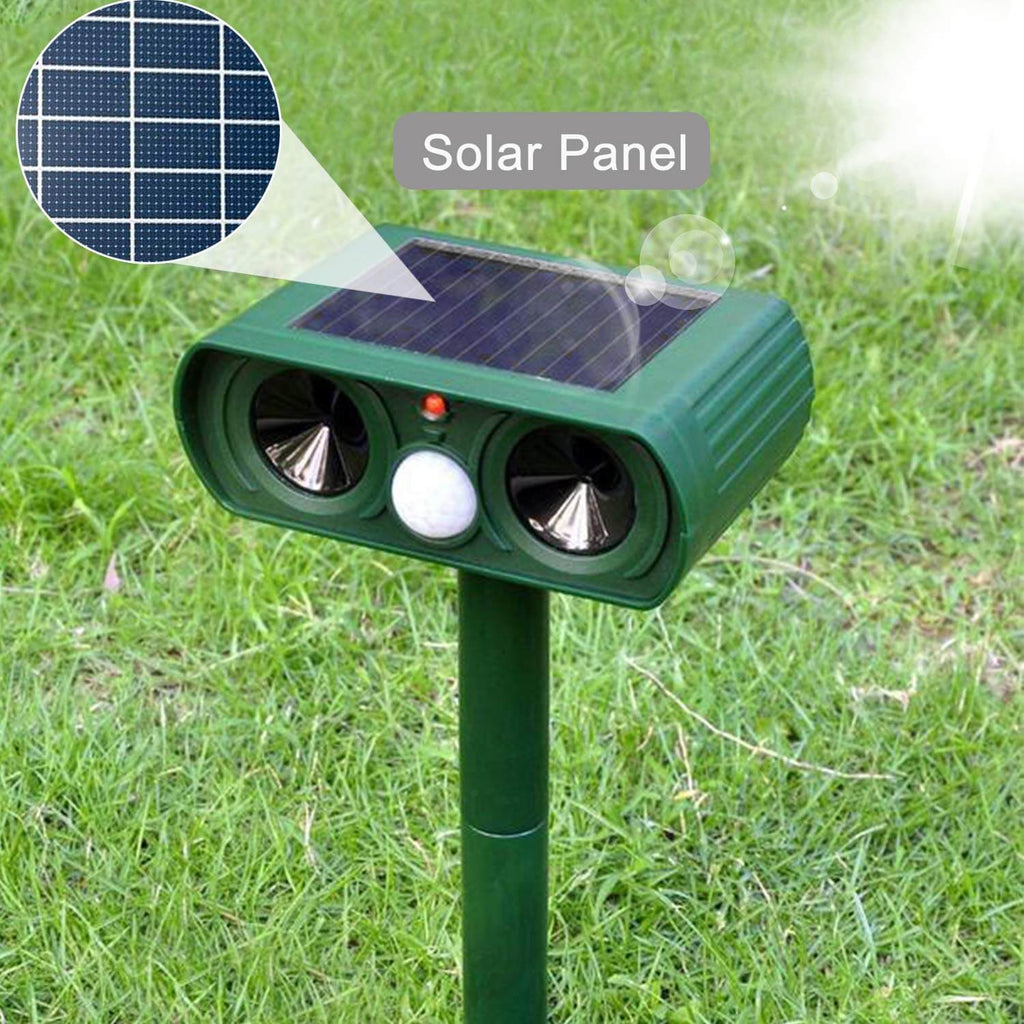 2 PCS Solar Power Ultrasonic Animal Pest Repeller Infrared Sensor