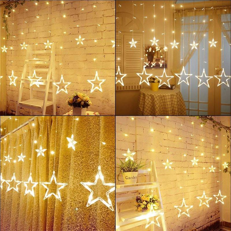 138 LED 12 Stars Window Curtain String Lights