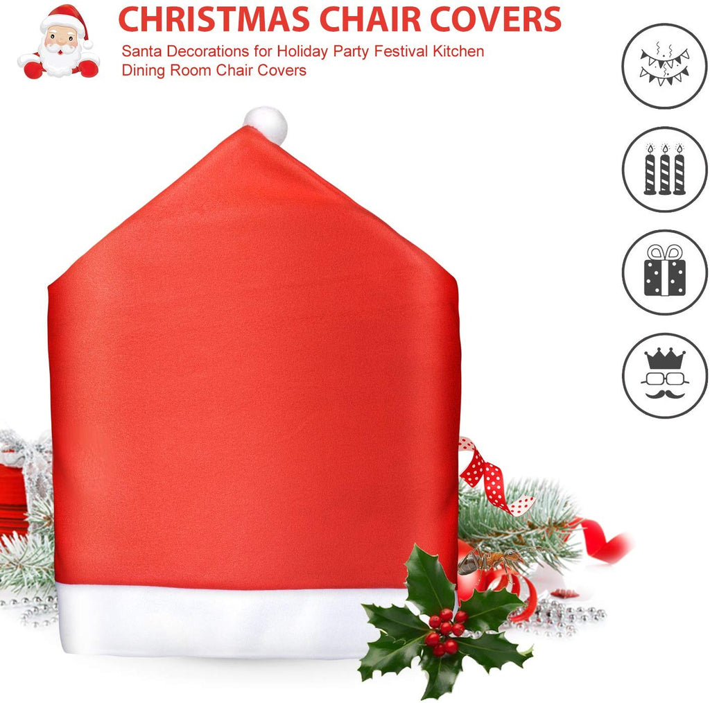 Christmas Chair Back Cover Santa Claus Hat 6 Pcs