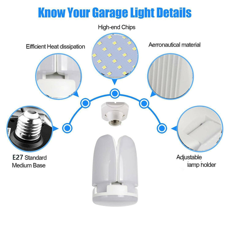 Foldable LED Garage Light Four-Leaf