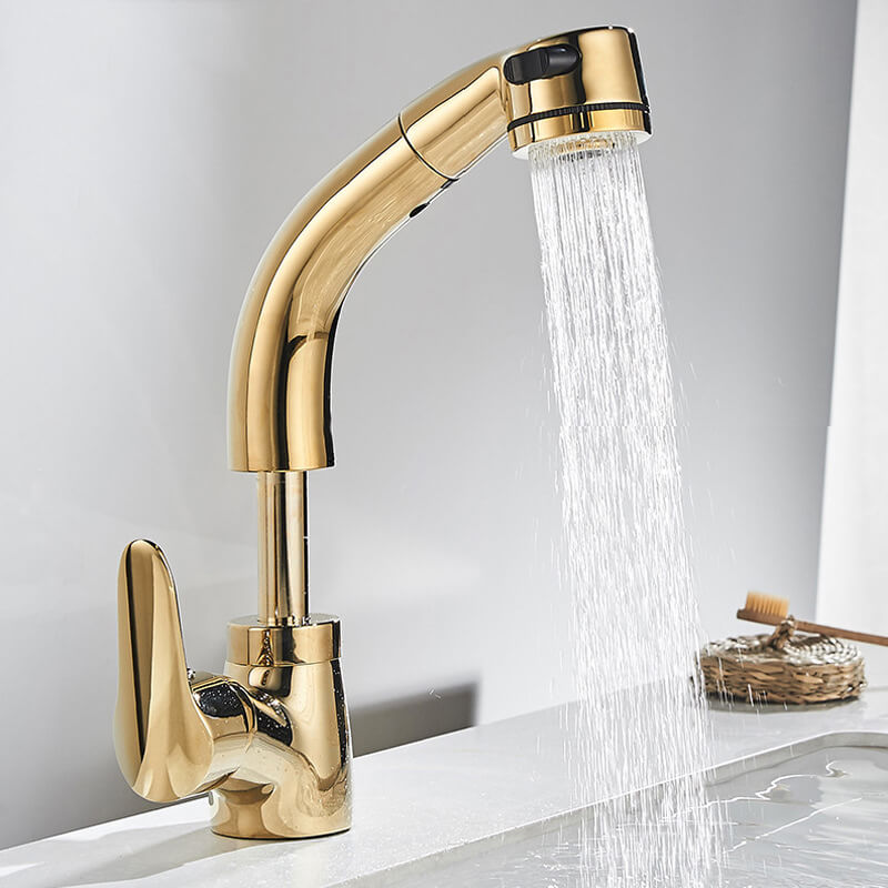 Brass Single Handle Bathroom Faucet With Pull-Down Sprayer
