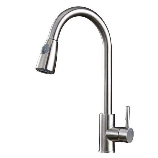 Single Handle High Arc Brushed Nickel Pull Out Kitchen Faucet
