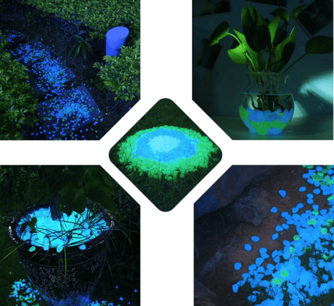 Glow In The Dark Gravel Pebbles 100Pcs Luminous Garden Rocks Purple