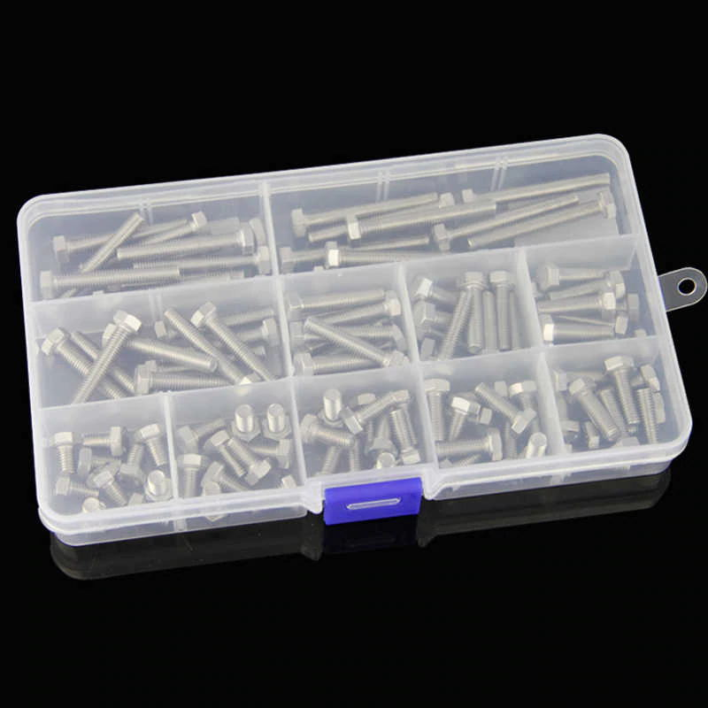 260 pcs / set M3 M4 M5 304 Stainless Steel Flat Hex Cap Screws