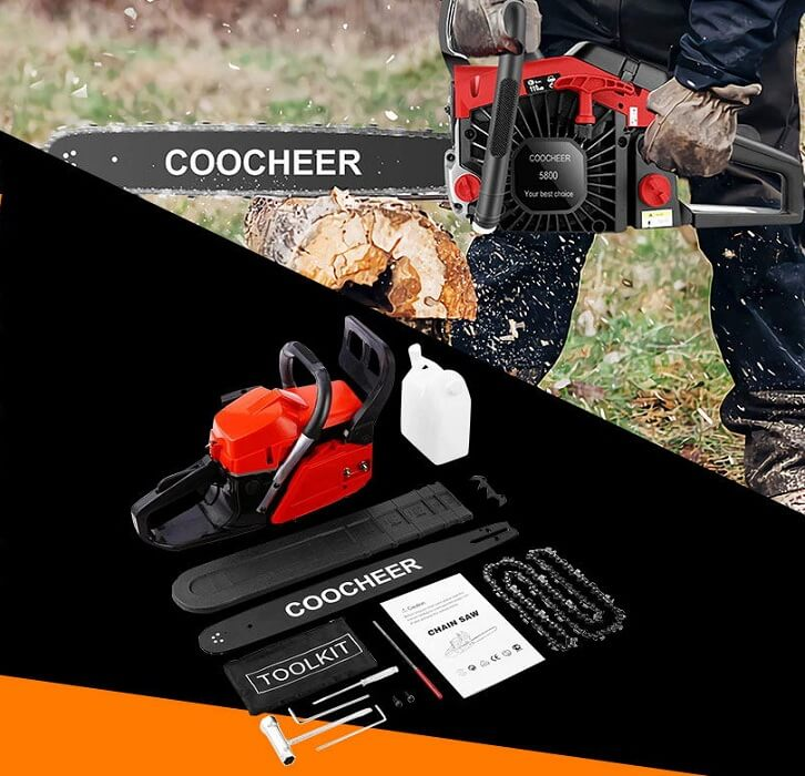 COOCHEER® 20 Inch 58CC Gas Powered Chainsaw 2 Stroke Handed Petrol Gasoline Chain Saw
