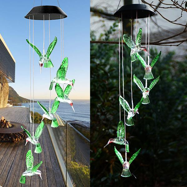 Solar Hummingbird Wind Chimes Lights