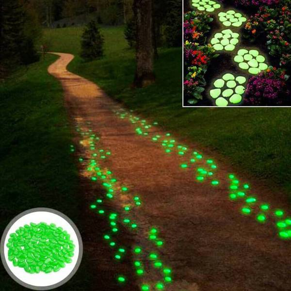 Glow In The Dark Gravel Pebbles 100Pcs Luminous Garden Rocks Green