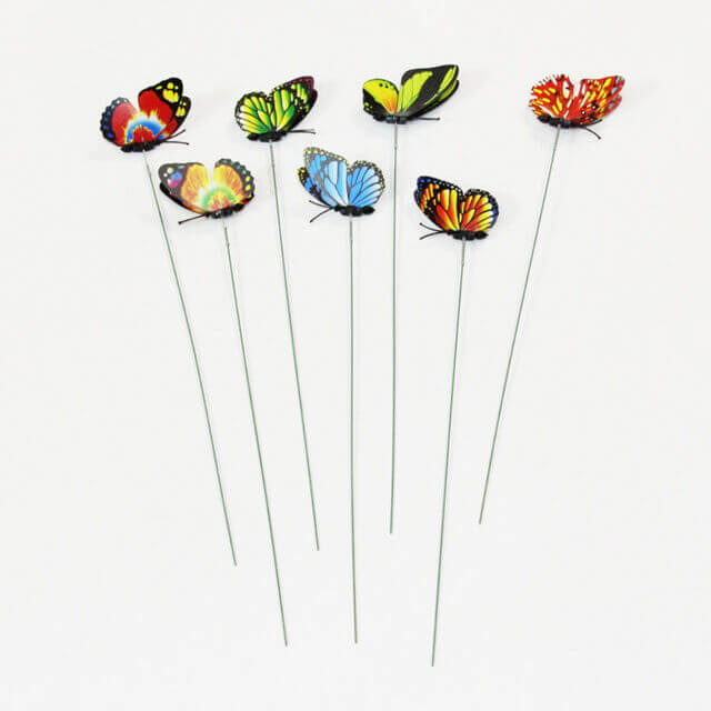 24 Garden Yard Planter Colorful Whimsical Butterfly Stakes