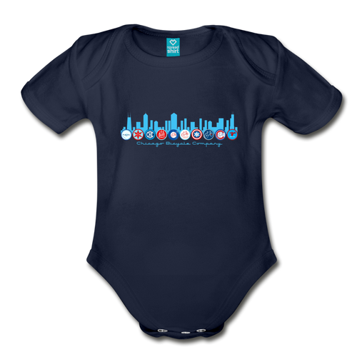 Chicago Bike Patches Onesie - dark navy
