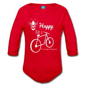 Bee Happy Long Sleeve Onesie - red