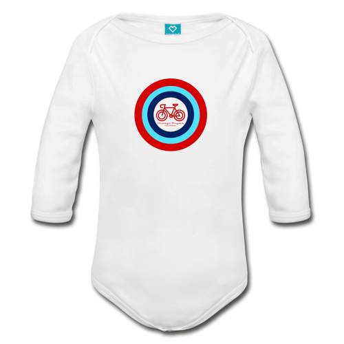Bullseye Bicycle Long Sleeve Onesie - white