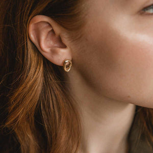 Minimalist Organic Gold Stud Earrings