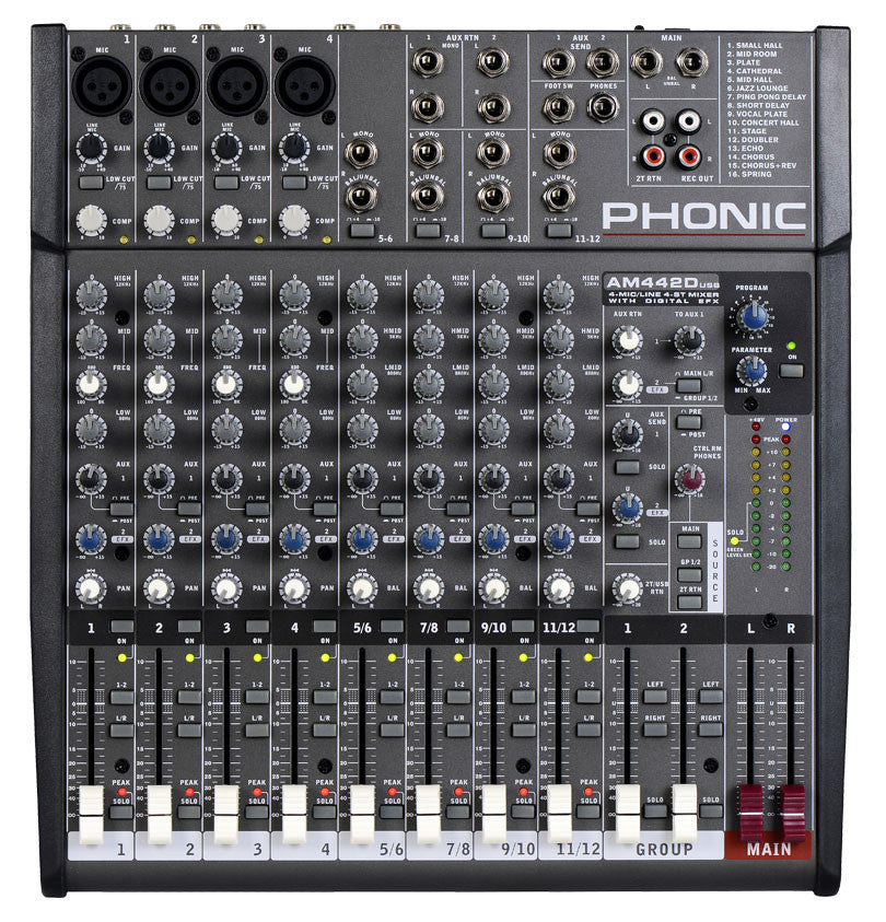 Phonic AM-442DUSB 4MIC/LINE 4STEREO 2GROUP MIXER+DFX+USB