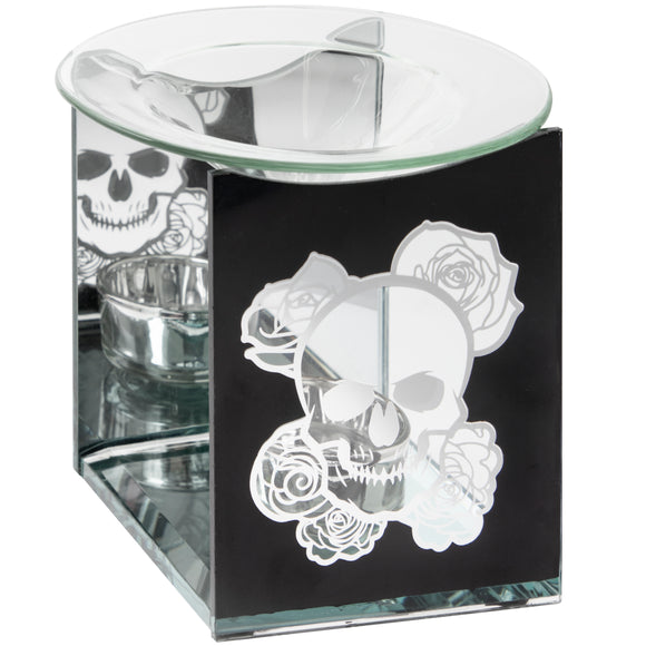 Skull & Roses Glass Oil Burner
