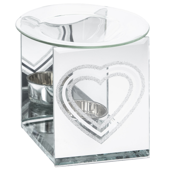 Silver Glitter Heart Wax Melter / Oil Burner