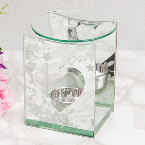 Floral Glass Heart Oil Burner