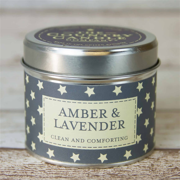 Stars Candle in Tin - Amber & Lavender