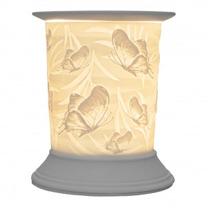 Straight Edge Porcelain Etched Aroma Lamp - Butterfly