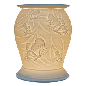 Large Porcelain Etched Aroma Lamp - Butterfly