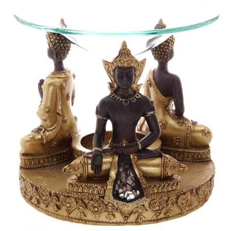 Gold, Brown & Glass Thai Buddha Wax Melter / Oil Burner