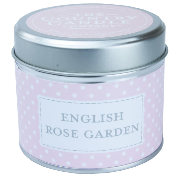 Polka Dot Candle in Tin - English Rose Garden