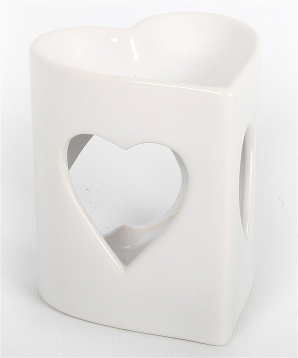 DUE JANUARY White Heart Wax Melter / Oil Burner - 10x9cm