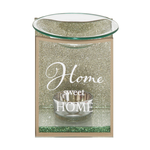 Home Sweet Home Gold Glass Oil Burner