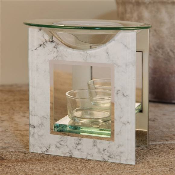 Hestia White Marble Wax Melter / Oil Burner 12cm