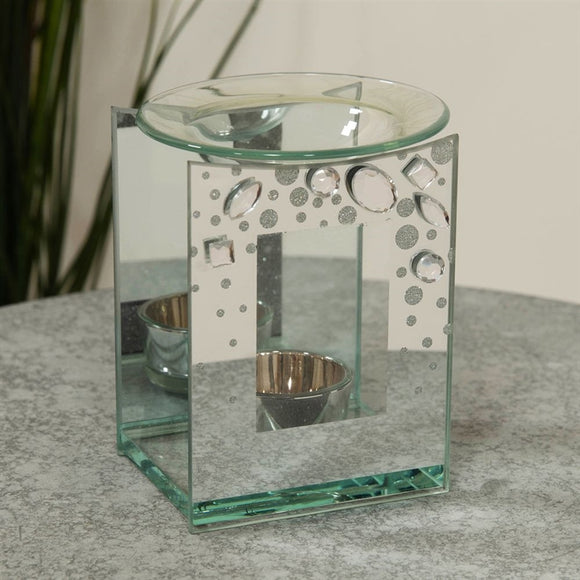 Hestia Glass Oil Burner With Large Crystals 12cm