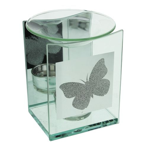 DUE OCTOBER-Glitter Butterfly Glass Wax Melter / Oil Burner 12cm