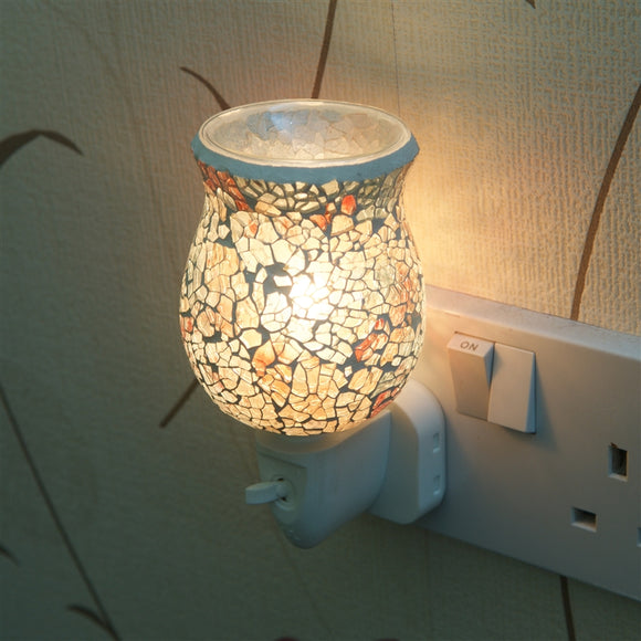 10W* Plug-In Glass Mosaic Oil Warmer - Golden Glow