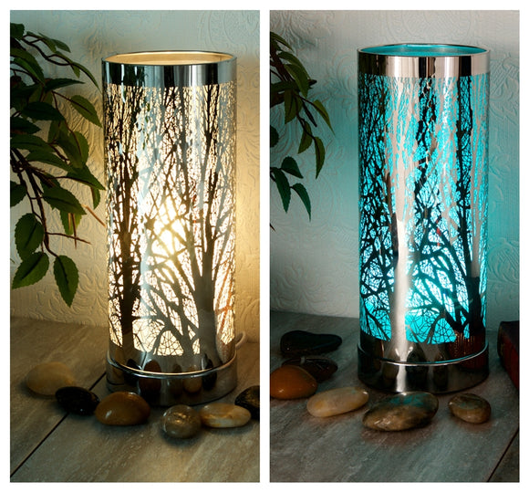 Woodland LED Colour Changing Aroma Lamp - Silver
