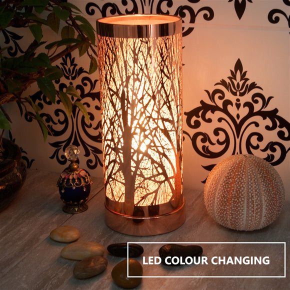 Woodland LED Colour Changing Aroma Lamp - Rosegold