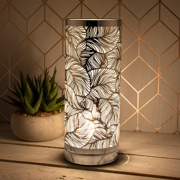 LP46014 Silver & White Touch Sensitive Aroma Lamp 26cm