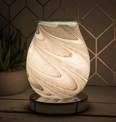DUE OCTOBER Glass Aroma Lamp with Touch Sensitive Base - Grey Marble