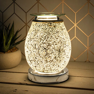 DUE LATE SEPTEMBER Glass Mosaic Touch Aroma Lamp - Silver