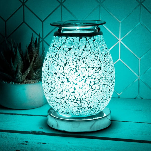 DUE FEB Glass Mosaic Touch Aroma Lamp - Teal Blue