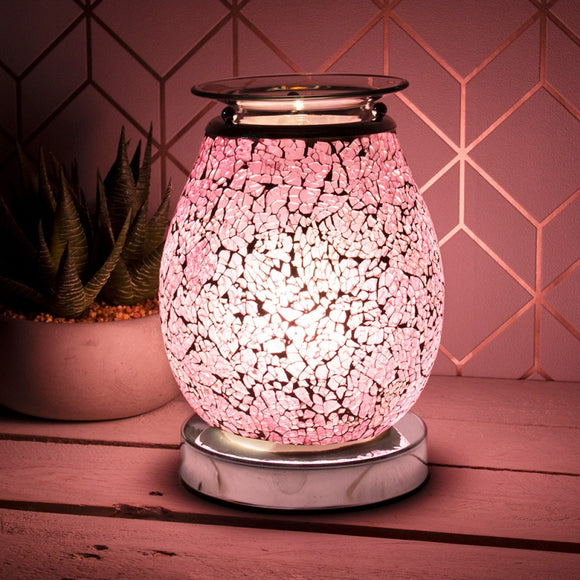 DUE OCTOBER Glass Mosaic Touch Aroma Lamp - Pink