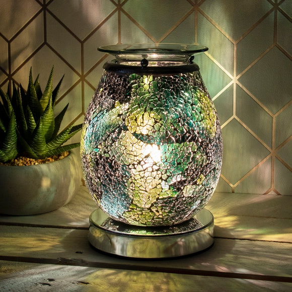 Touch Sensitive Onyx Eggshell Glass Mosaic Aroma Lamp