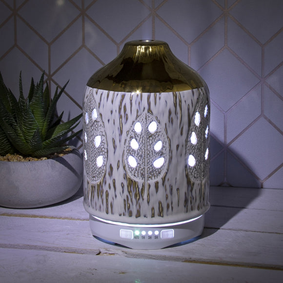 Colour Changing Ceramic Aromatherapy Humidifier - White & Gold