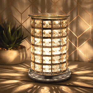 Crystal Touch Sensitive Aroma Lamp Silver & Amber