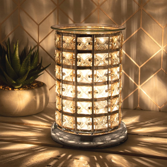 Crystal Touch Sensitive Silver and Amber Aroma Lamp
